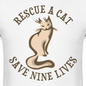 Rescue A Cat Save Nine Lives T-Shirts - Men's T-Shirt