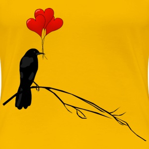 Raven with Balloons - Women's Premium T-Shirt