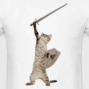 Heroic Warrior Knight Cat T-Shirts - Men's T-Shirt
