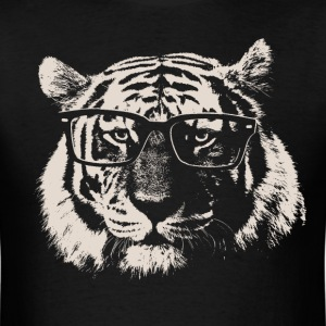Hipster Tiger With Glasses T-Shirts - Men's T-Shirt