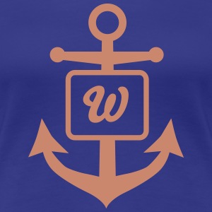 Anchor, Nautical Monogram - Women's Premium T-Shirt