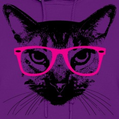 Hipster Cat with Pink Glasses Hoodies