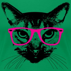 Hipster Cat with Pink Glasses Women's T-Shirts - Women's Premium T-Shirt