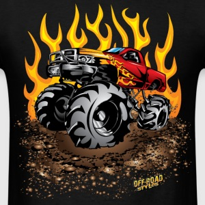 Mega Mud Truck Red Flames T-Shirts - Men's T-Shirt
