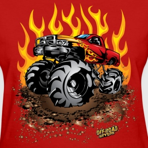 Mega Mud Truck Red Flames Women's T-Shirts - Women's T-Shirt