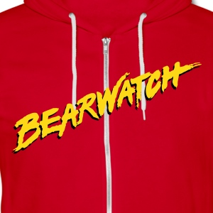 Men's Bearwatch Zip-Up Hoodie (Red) - Unisex Fleece Zip Hoodie by American Apparel