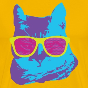 Colorful Cat With Glasses T-Shirts - Men's Premium T-Shirt