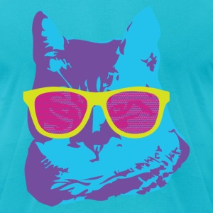Colorful Cat With Glasses T-Shirts - Men's T-Shirt by American Apparel