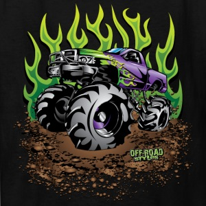 Mud Truck Green Flame Kids' Shirts - Kids' T-Shirt
