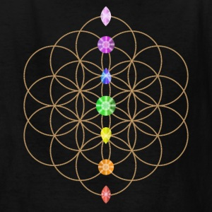 Flower Of Life With Chakra Stones Kids' Shirts - Kids' T-Shirt