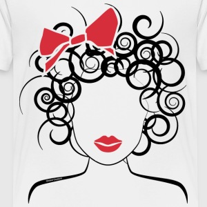 Curly Girl with Red Bow_Global Couture_logo Kids'  - Kids' Premium T-Shirt