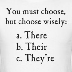 Choose Wisely There Their They're Grammar T-Shirts