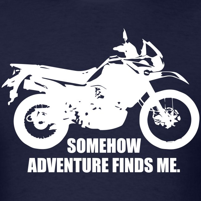 """Trusty Adventure Finds Me"" - White Logo"