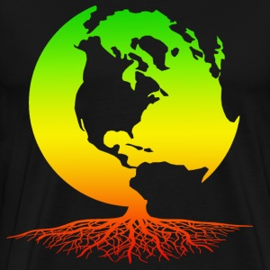 Mother Earth Globe with Roots - Rasta Colors - Men's Premium T-Shirt