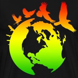 Mother Earth Globe with Bird Flight - Men's Premium T-Shirt