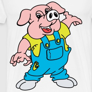 Cartoon Pig Welcome - Men's Premium T-Shirt