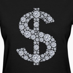 Diamond Dollar Sign Bling Women's T-Shirts