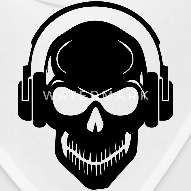 Skull with Headphones - Rave - Electro - Hardstyle Caps - Bandana