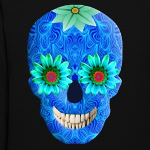 Blue Day Of The Dead Skull Hooded Sweatshirt - Women's Hoodie