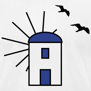 Greek windmill - Gulls - V2 T-Shirts - Men's T-Shirt by American Apparel