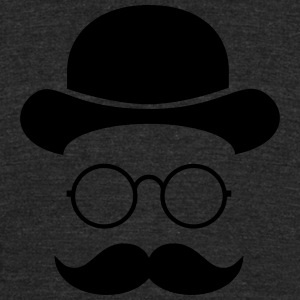 Funny vintage face with Moustache & Glasses T-Shirts - Unisex Tri-Blend T-Shirt by American Apparel