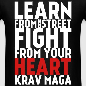 Learn Krav Maga black with red - Men's T-Shirt