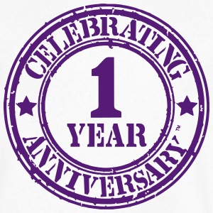 CELEBRATING 1 YEAR ANNIVERSARY™ T-Shirts - Men's V-Neck T-Shirt by Canvas