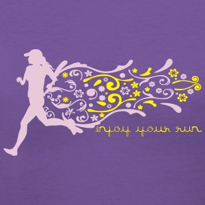 ENJOY YOUR RUN GIRL Women's T-Shirts - Women's V-Neck T-Shirt