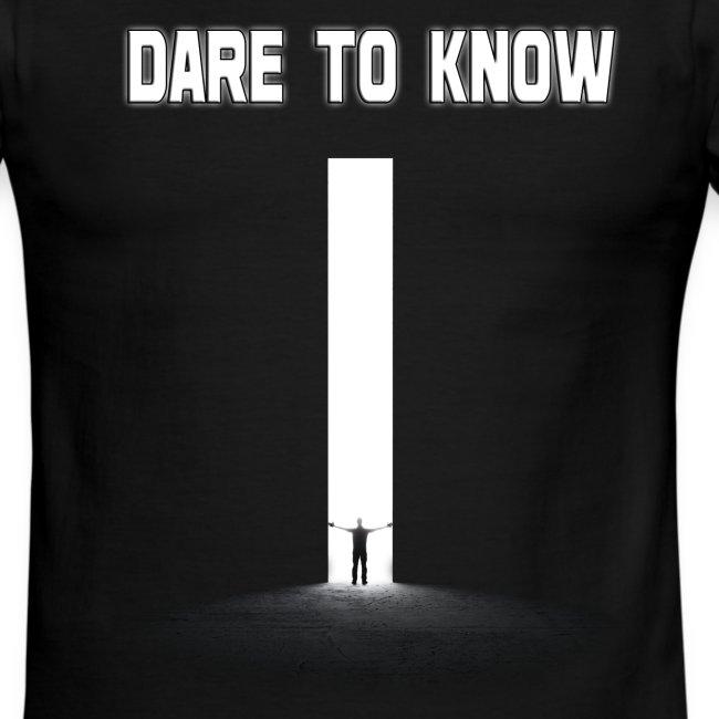 "Hybrid Librarian's ""DARE Tʘ KNOW"" Men's Ringer Shirt"