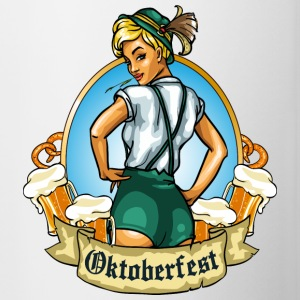 Oktoberfest girl with beer emblem - Contrast Coffee Mug