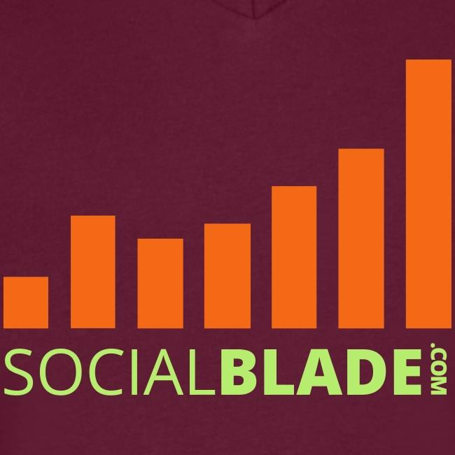 Social Blade Green and Orange Logo V-Neck