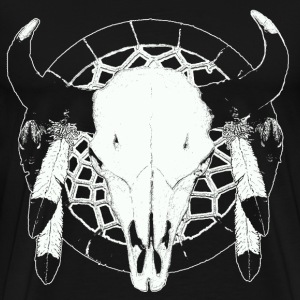 Buffalo  skull on dream catcher  - Men's Premium T-Shirt