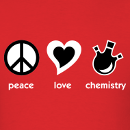 Design ~ YellowIbis.com 'Chemical One Liners' Men's / Unisex Standard T-Shirt: Peace Love Chemistry (Red)