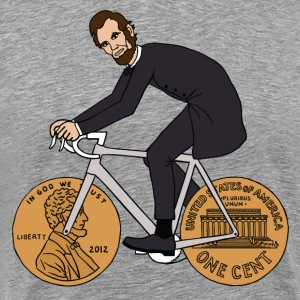 abe lincoln riding bike with penny wheels - Men's Premium T-Shirt