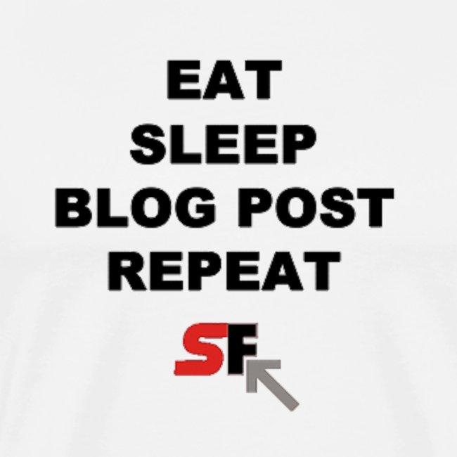 Eat. Sleep. Blog Post. Repeat. Tee (Black Text)