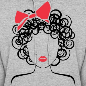 Coily Girl with Red Bow_Global Couture_logo Hoodie - Women's Hoodie
