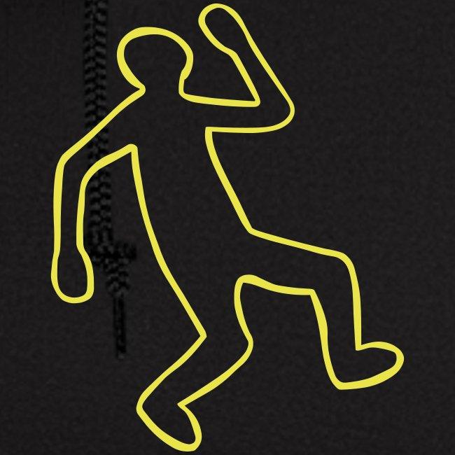 Crime Scene Body Outline   Men's Zip Hoodie
