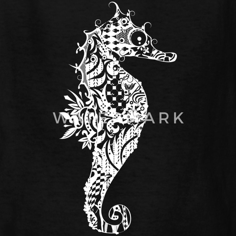 A fancy Seahorse (white contours) Kids' Shirts - Kids' T-Shirt