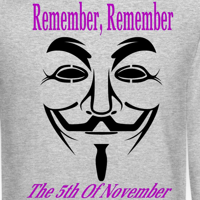Guy Fawkes Day Mask Long Sleeve T-Shirt For Men