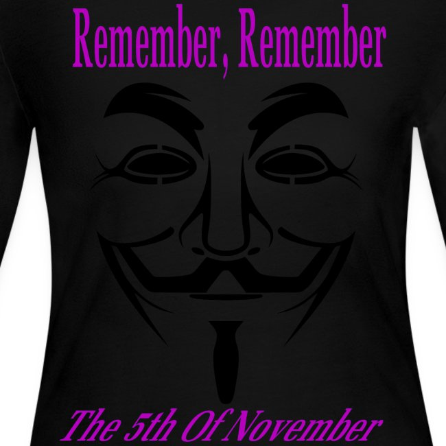 Guy Fawkes Day Mask Long Sleeve T-Shirt For Women