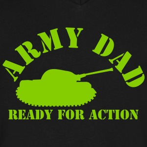 ARMY DAD (with tank) ready for ACTION! T-Shirts - Men's V-Neck T-Shirt by Canvas
