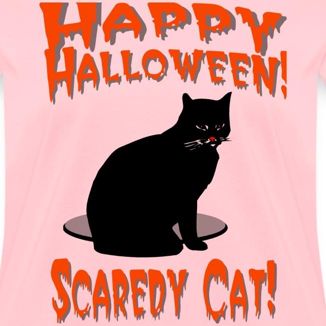 Happy Halloween Scaredy Cat T-Shirt For Women