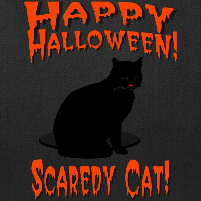 Happy Halloween Scaredy Cat T-Shirt  Cotton Canvas Tote Bag