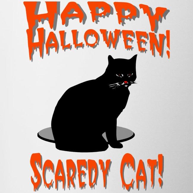 Happy Halloween Scaredy Cat T-Shirt  Ceramic Coffee Mug