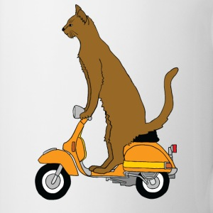 cat on motor scooter Bottles & Mugs - Coffee/Tea Mug