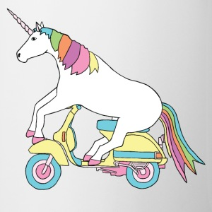 unicorn riding motor scooter Bottles & Mugs - Coffee/Tea Mug