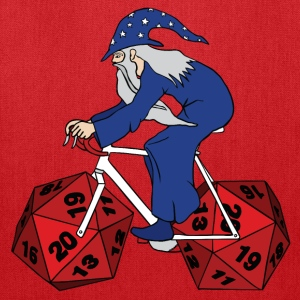 wizard riding bike with 20 sided dice wheels Bags & backpacks - Tote Bag