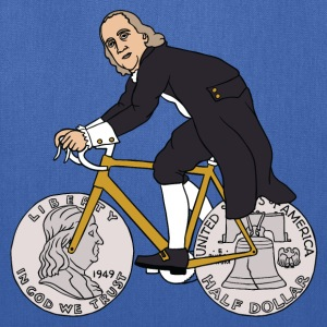 ben franklin on bike with half dollar wheels Bags & backpacks - Tote Bag