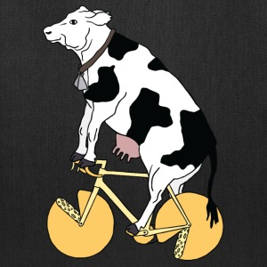 cow riding bike with cheese wheels Bags & backpacks - Tote Bag