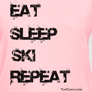 Eat Sleep Ski Repeat TC bw Women's T-Shirts - Women's T-Shirt